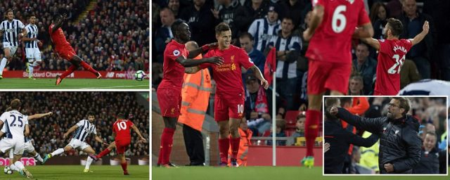 Liverpool 2-1 West Brom: Sadio Mane and Philippe Coutinho strike but free-scoring Reds