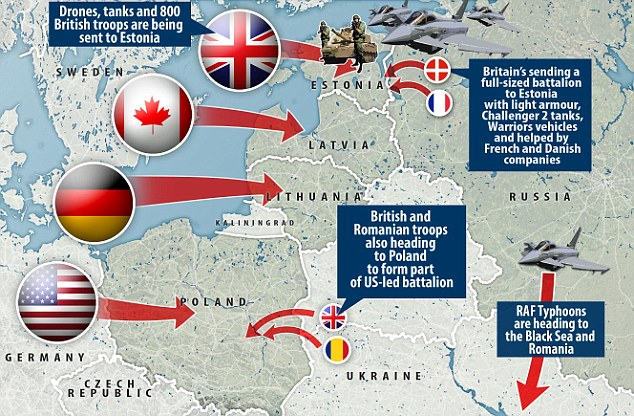France, Denmark, Italy and other allies are expected to join the four battle groups led by the United States, Germany, Britain and Canada to go to Poland, Lithuania, Estonia and Latvia, with forces ranging from armoured infantry to drones