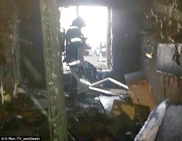Bobokulova's teenage son Rakhmatillo claims his mother became radicalised after meeting her husband and told him of her plans to join ISIS in Syria. Pictured: The Moscow flat she burned down after killing little Anastasia