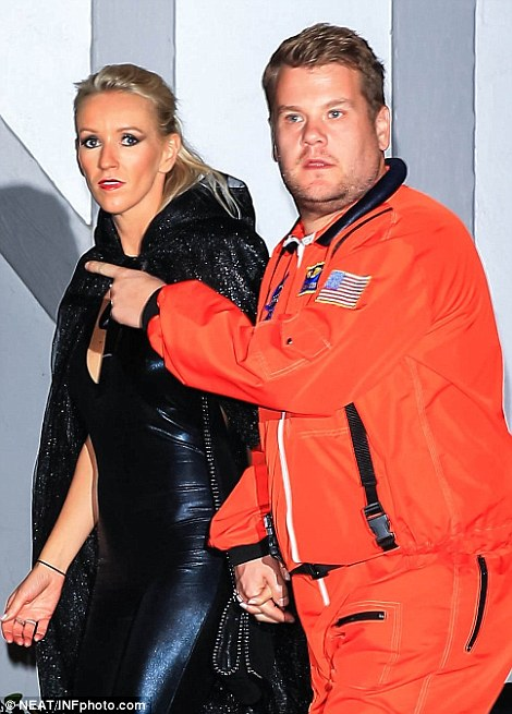 James Corden opted for a NASA get-up as he partied with his wife Julia Carey