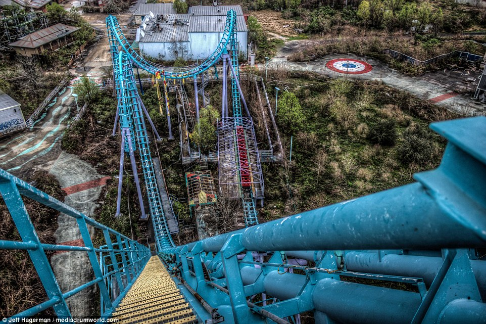 Photographer Jeff Hagerman managed to evade 24-hour security to take this picture of a disused rollercoaster at the site