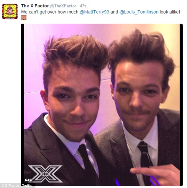 Who's who?X Factor finalist Matt Terry, 23, already has Louis Tomlinson's looks down to a tee, with the show even tweeting its disbelief at their similarities