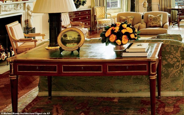 This antique Denis-Louis Ancellet desk is where the 1978 Camp David peace accords were signed. On top of the desk is a hardcover copy of the script from the musical Hamilton