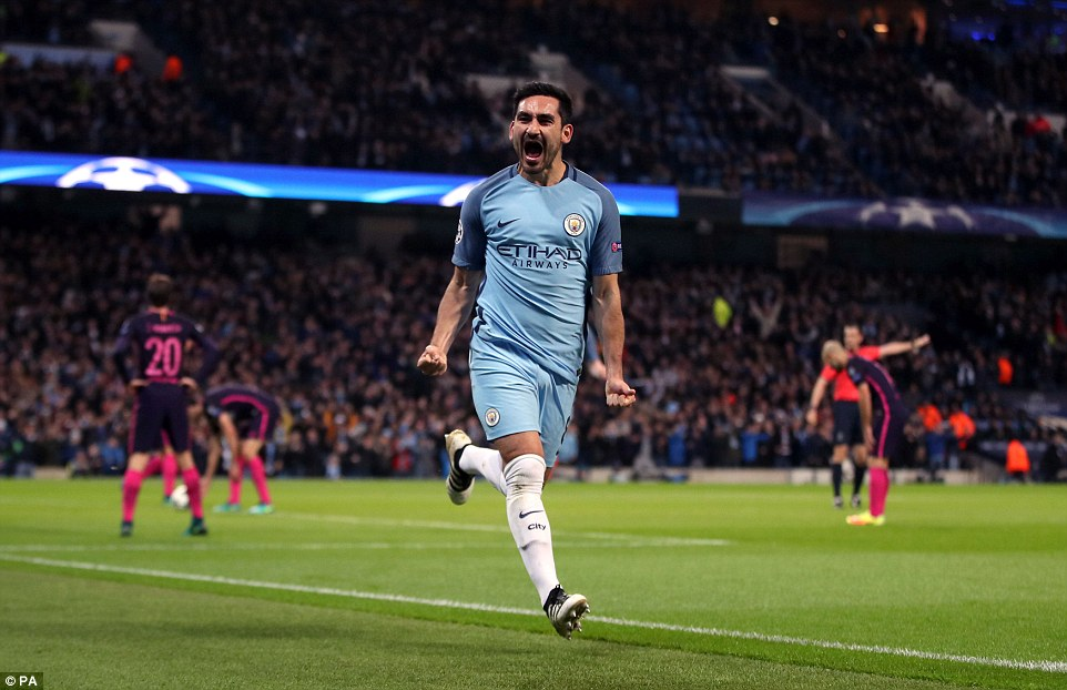 Gundogan celebrates after responding with a tap-in after a great pass from Raheem Sterling in the 39th minute