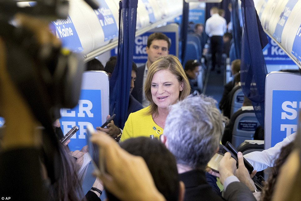 Director of Communications Jennifer Palmieri told reporters traveling with Hillary Clinton that the secretary of state was 'glad' about the latest FBI development