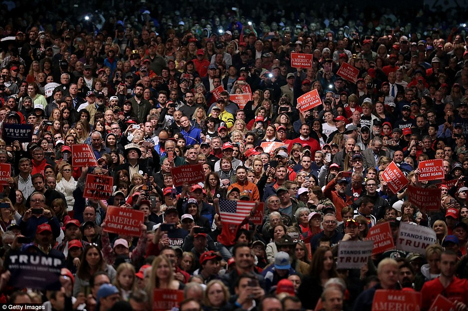 Thousands of Trump supporters attended the rally that was held at Freedom Hill Amphitheater in Sterling Heights