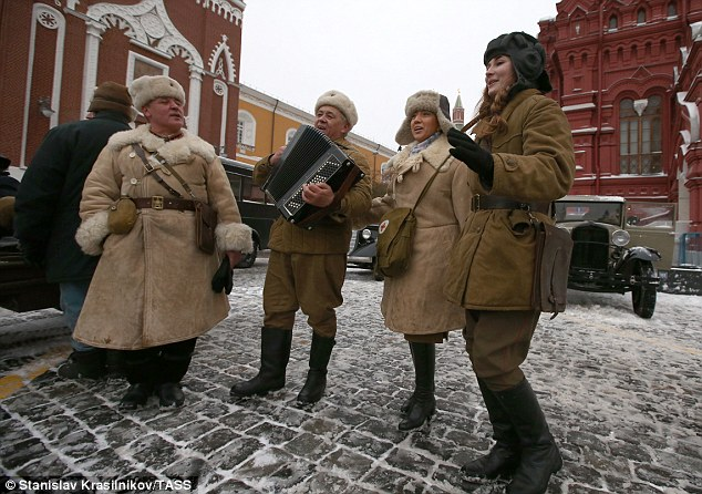 Russian servicemen and women dressed in World War Two uniforms seen in Moscow's Red Square ahead of yesterday's military parade. The Soviet Union was years ahead of the West in allowing women to serve on the frontline