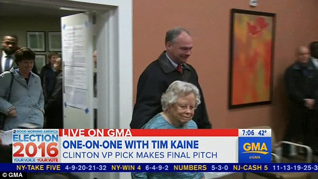 Virginia Sen. Tim Kaine, Hillary Clinton's running mate, was the second person in line at his Richmond polling location - the first being 99-year-oldMinerva Turpin (right)