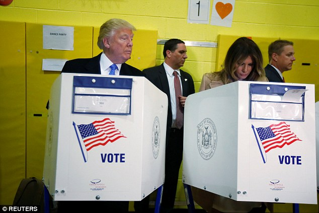 The Trumps were met by some boos as they arrived at the polling station in the typically Democratic stronghold of Manhattan
