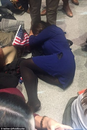 Fetal floor: A woman at the Clinton HQ was left in the fetal position as Donald Trump continued to triumph in the election