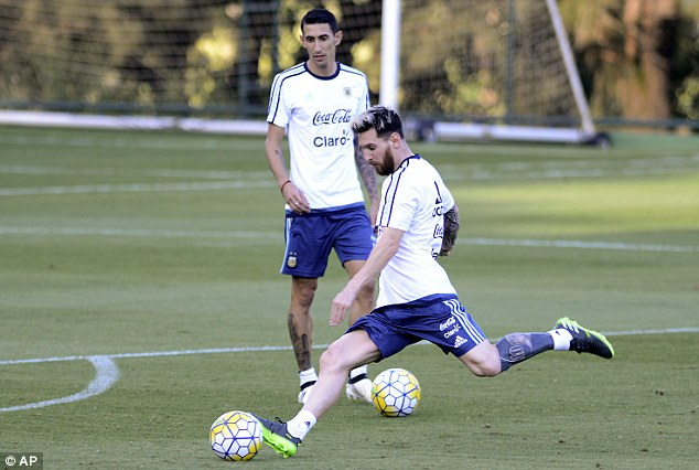 The Barcelona icon takes a strike towards goal during Argentina training on Tuesday
