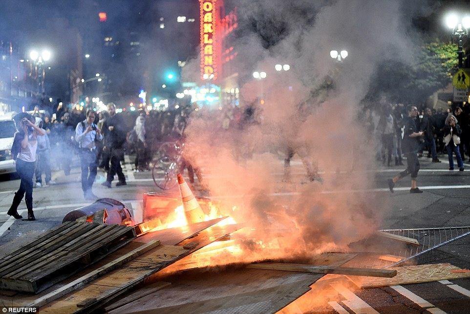 Oakland: Planks of wood, cones and other detritus is set alight in the city, close to San Francisco