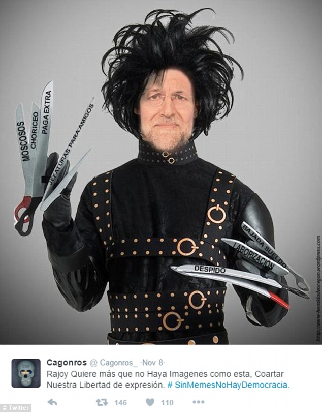 Minutes after the proposals were presented, Twitter users in Spain unleashed a deluge of memes poking fun at the prime minister and his government. One showed the prime minister as the film character Edward Scissorhands