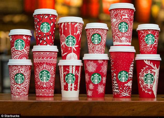 There are 12 paper red cup designs and one for a Frappuccino cup, which all have been submitted by customers, for the 2016 batch of Starbucks red cups. The cups released in shops today all over the world