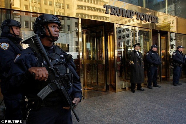 Members of the New York Police Department's Counterterrorism Bureau stand watch outside Trump Tower earlier this week