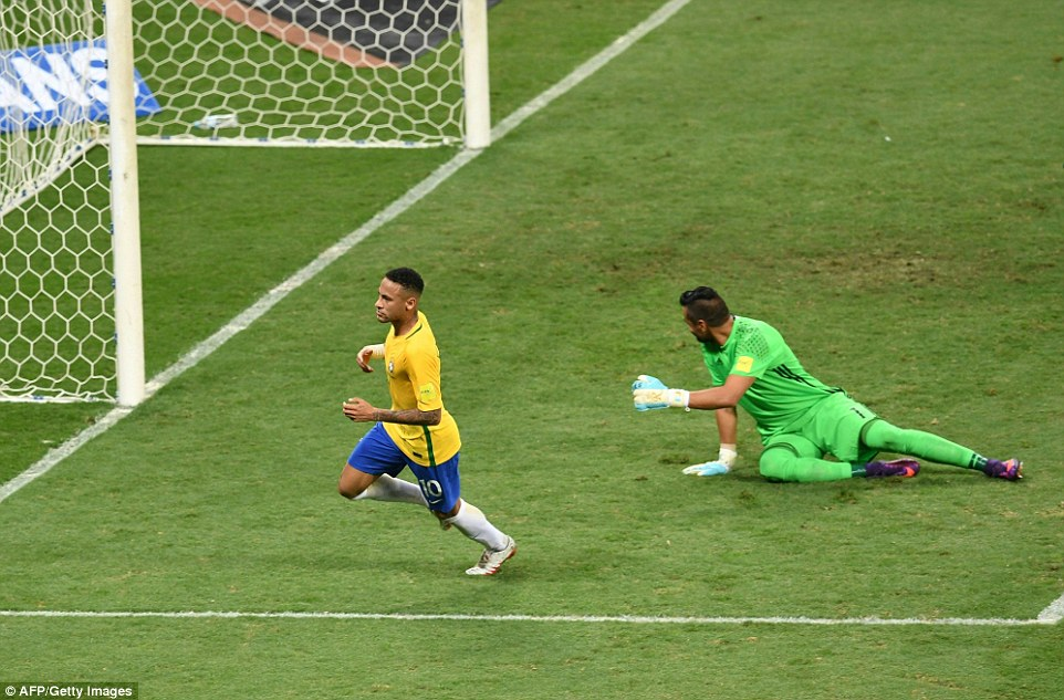 The job got even harder for Argentina before the break after Neymar swept the ball home to double the Brazilian advantage