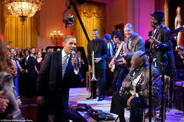 U.S. President Barack Obama joins B.B. King singing Sweet Home Chicago during the 'In Performance at the White House: Red, White and Blues' concert in the East Room on February 21, 2012 in Washington, D.C. Participants include, from left: Troy 'Trombone Shorty' Andrews, Jeff Beck, Derek Trucks, B.B. King, and Gary Clark, Jr.