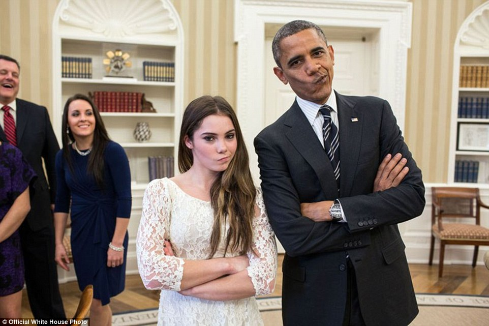 """November 15, 2012. 'The President had just met with the U.S. Olympics gymnastics team, who because of a previous commitment had missed the ceremony earlier in the year with the entire U.S. Olympic team. The President suggested to McKayla Maroney that they recreate her """"not impressed"""" photograph before they departed'"""