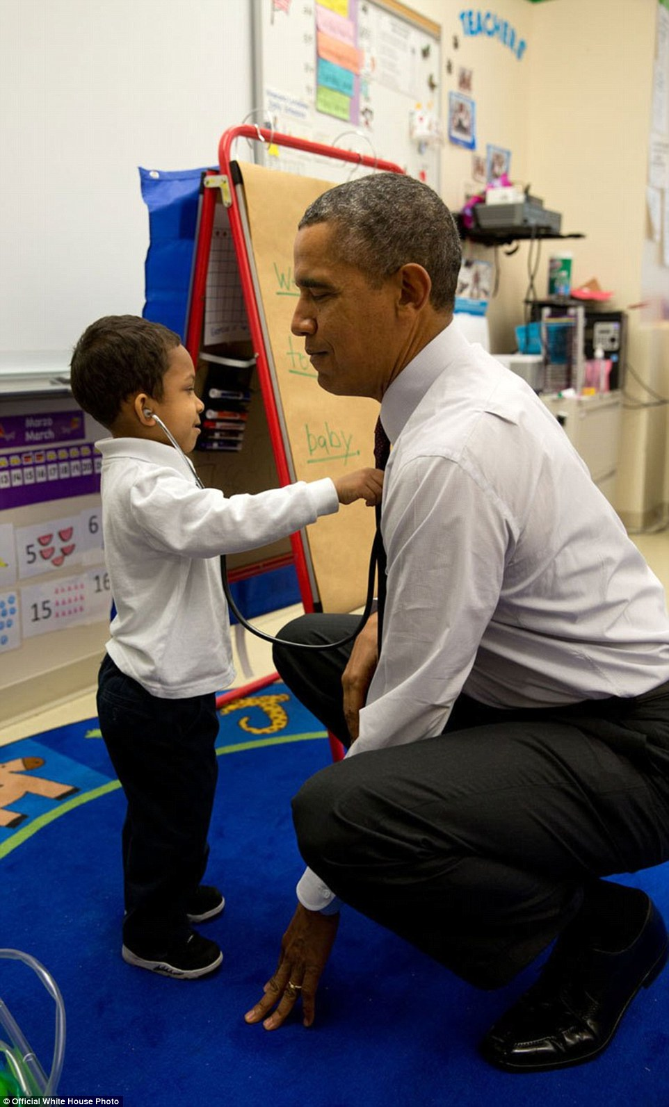 March 4, 2014. 'The President was visiting a classroom at Powell Elementary School in Washington, D.C. A young boy was using a stethoscope during the class, and as the President was about to leave the room, the President asked him to check his heartbeat'