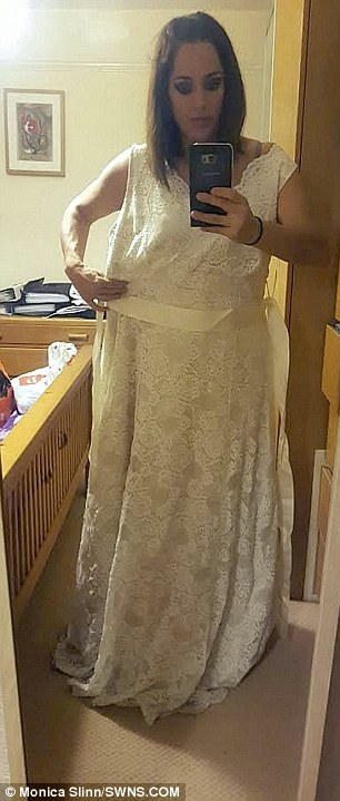 Monica's wedding dress hangs off her thanks to her weight loss surgery seeing her drop to 11st