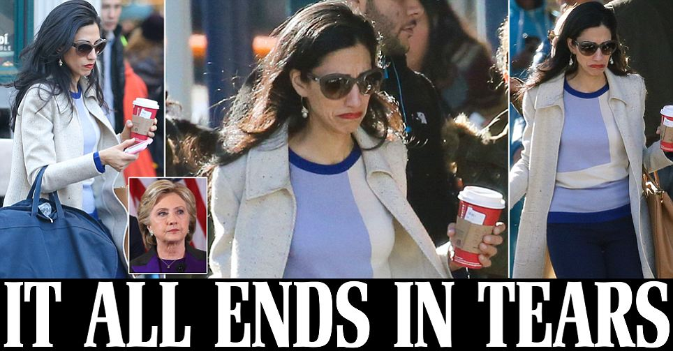 Huma Abedin weeps openly as she returns to Clinton campaign headquarters