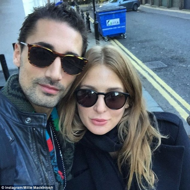 Inseparable couple: The former Made In Chelsea star, 27, took to social media to share a blissfully happy snap of herself with her 'love' Hugo Taylor, 30, on Tuesday
