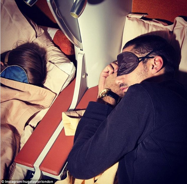 Catching some sleep:Clearly excited for the trip, sunglasses designer Hugo shared snaps of their flight in first class