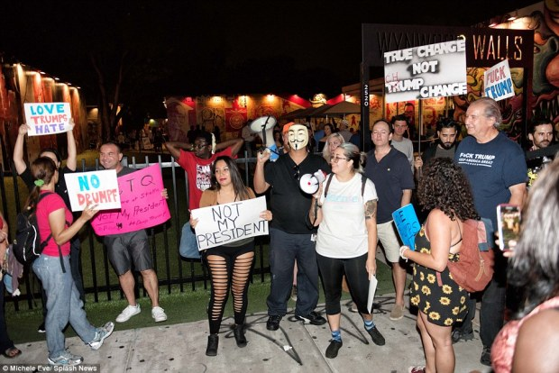 Protesters are seen in Miami, Florida, upset with Republican nominee Donald Trump's election win on Tuesday over Hillary Clinton