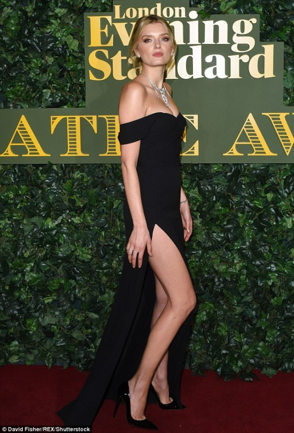 Night out on the town: Lily Donaldson attended the Evening Standard Theatre Awards, held at London's Old Vic Theatre on Sunday night, wowing in a daring dress