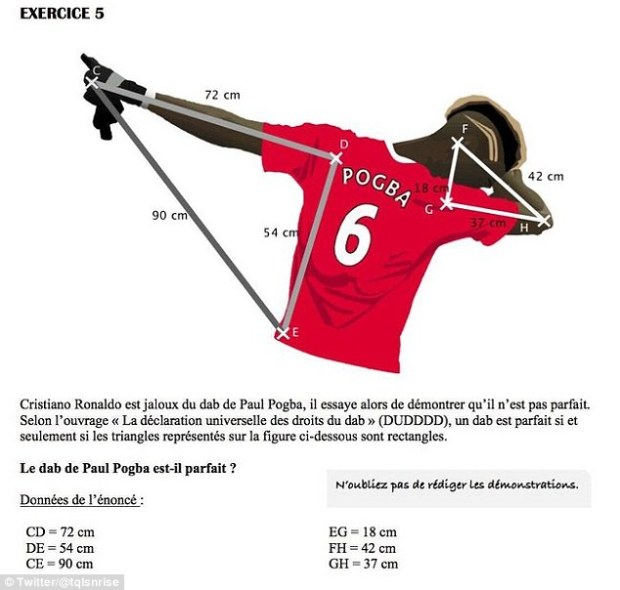 Paul Pogba's 'dab' celebration has been turned into a maths question by a resourceful teacher