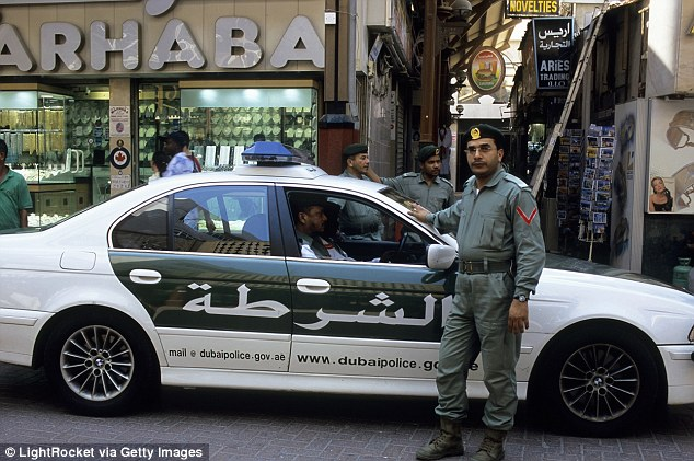 The 25-year-old tourist claimed she was attacked by two men while she was on a five-day holiday in Dubai last month and went to police to report the incident (file picture of Dubai police)