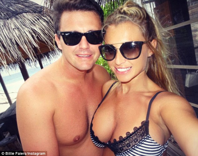 The happy couple: The 26-year-old former TOWIE star looked phenomenal in a sexy striped bikini top which struggled to contain her eye-popping 30H cleavage before later scooping her two-year-old into a tight embrace