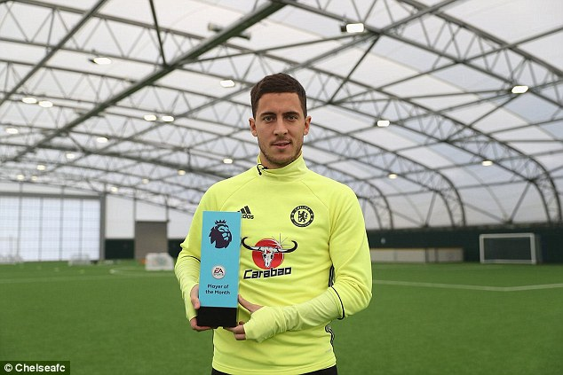 eden hazard and antonio conte win premier league player and boss of the month awards for october