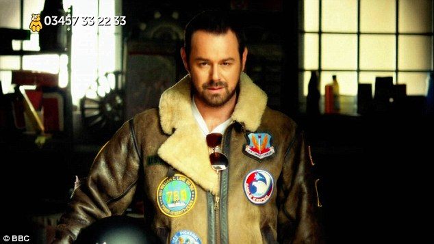Top man: The medly was preceded by a skit from Danny Dyer who had filmed a pre-recorded scene in the Albert Square Arches, dressed in a Maverick-type ensemble complete with leather jackets and aviator shades