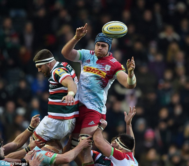 Horwill (centre) wins the ball from a line out prior to suffering the gruesome injury