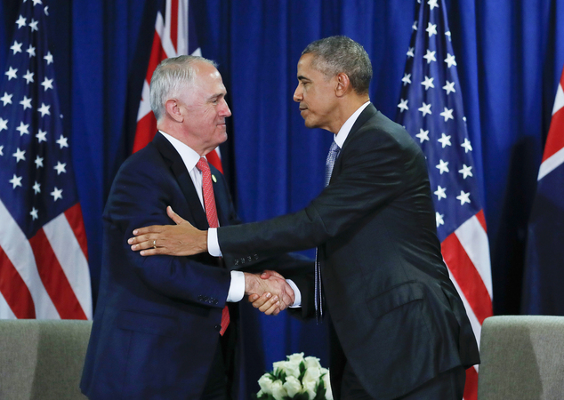 U.S. President Barack Obama shakes hands with Australia's Prime Minister Malcolm Turnbull during their meeting at the Asia-Pacific Economic Cooperation