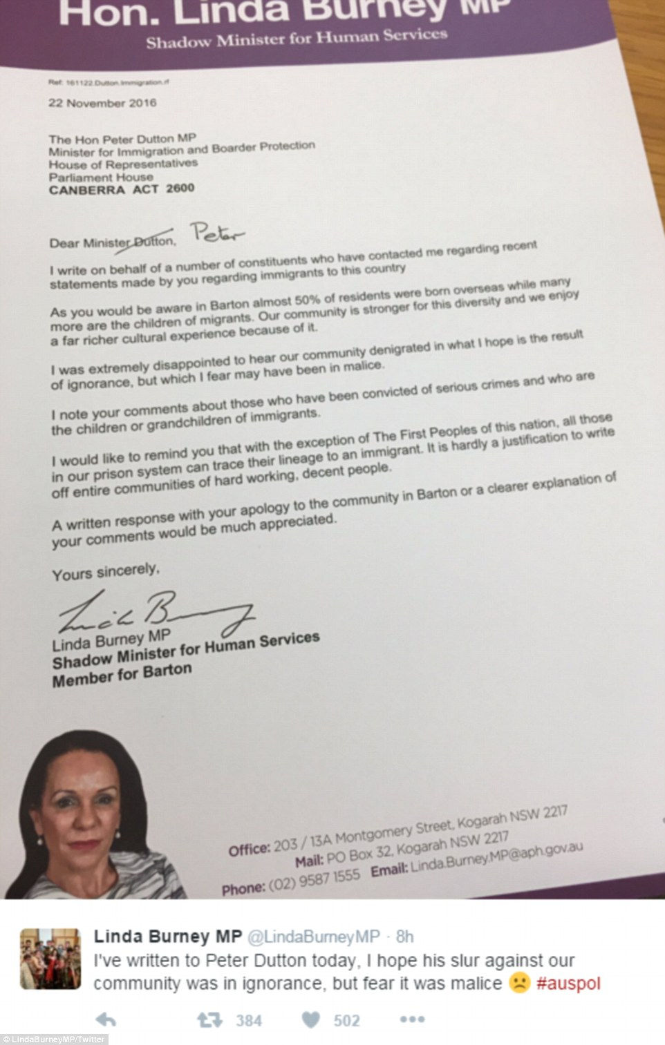 Linda Burney, Shadow Minister for Human Services, wrote a scathing personal letter addressed to Mr Dutton