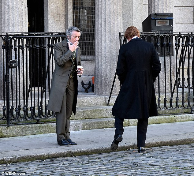Who's that guy? Steve Coogan looked unrecognisable as a 19th century gentleman for his role in The Professor and the Madman as he joined Laurence Fox in Dublin on Wednesday