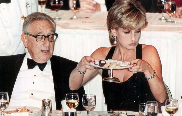 Trump and Diana met at a number of charity events over the years, including an event at the Hilton Hotel, New York in 1995, where he was sat on her table (Diana at the dinner with Dr Henry Kissinger (left)