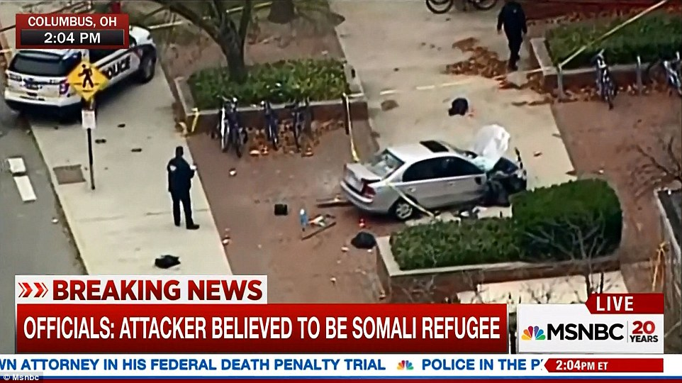 Artan then got out of his car and started stabbing innocent bystanders. Above, an aerial view of the car on Monday