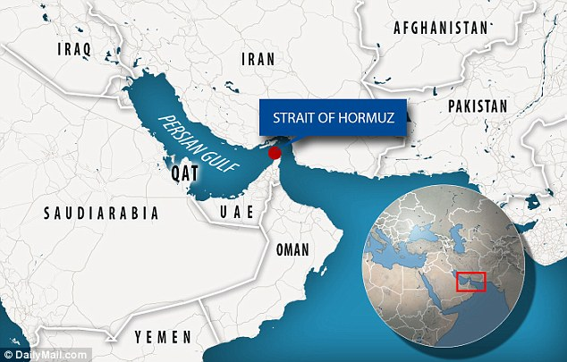 The heated meeting happened in the Strait of Homuz (pictured) near the Persian Gulf