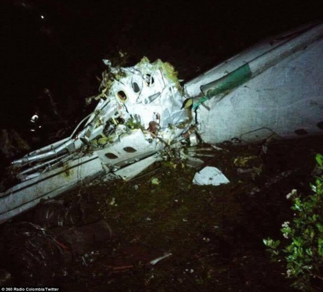 Wreckage: A plane carrying 72 passengers including the top flight Brazilian football team Chapecoensehas crashed in Colombia