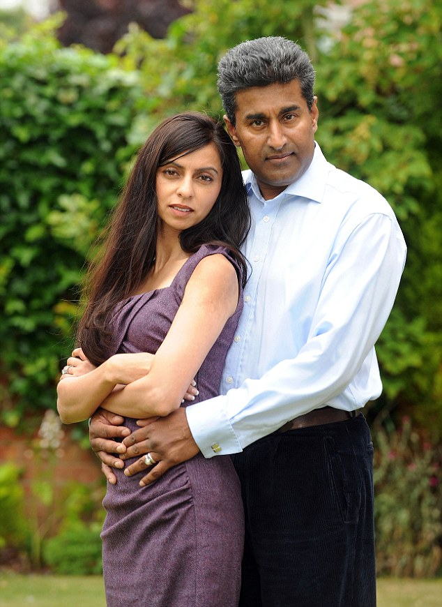 Dr Mattu, right, pictured with his wife Sangita. The stress of 200 false allegations against the heart surgeon left him too sick to work