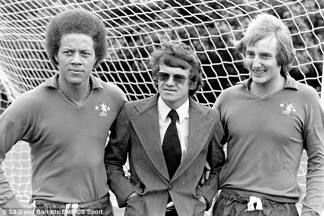 Derek Richardson (left) played for Chelsea's youth team before going on to represent QPR. He is pictured with former Blues boss Eddie McCreadie (centre) and Steve Sherwood