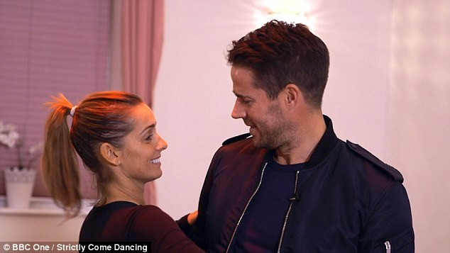 Fancy footwork:Appearing on This Morning, she discussed the fact Kevin's previous dance partners Frankie Bridge and Kellie Bright went on to get pregnant by their husband's after being paired with the pro (pictured with her husband Jamie)