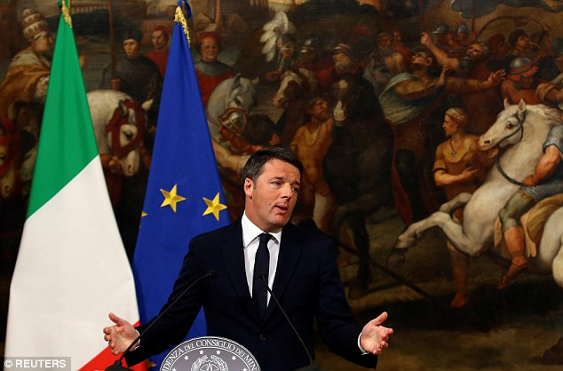 Mr Renzi said he felt bitterness, rage, sadness and disappointment when he conceded the referendum