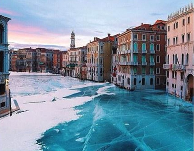 Doctored:It is very rare for the canals of Venice to freeze. They slightly iced over in 2012 and before that in 1929
