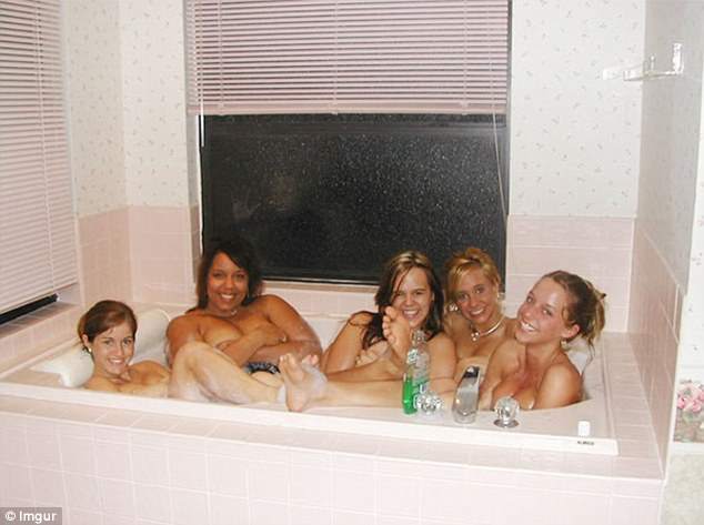 What looks like some girls just hanging out in the bath suddenly becomes a bit more sinister when you spot the person with their hand pushed up against the glass behind them
