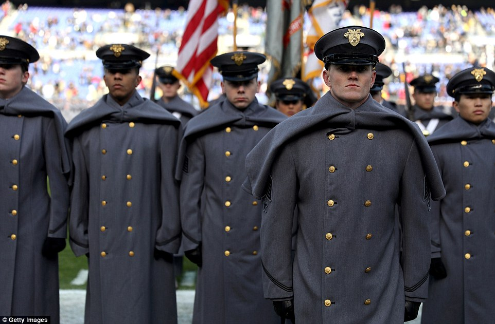 Cadets from the US Military Academy line up on field prior to the game