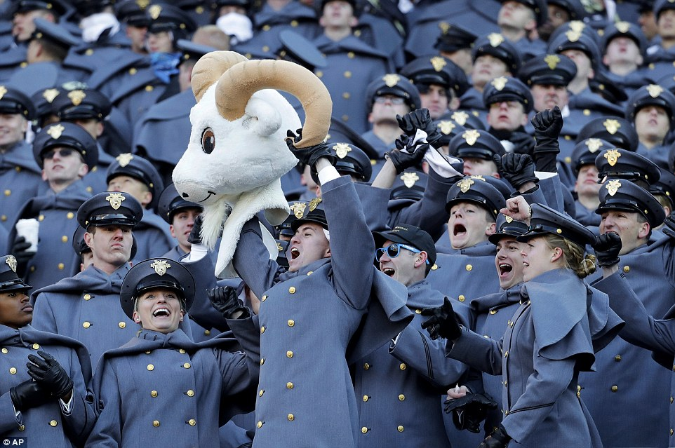 Army Cadets display the head of a commandeered Navy mascot head